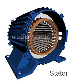 The stator of the three-phase asynchronous electric motor