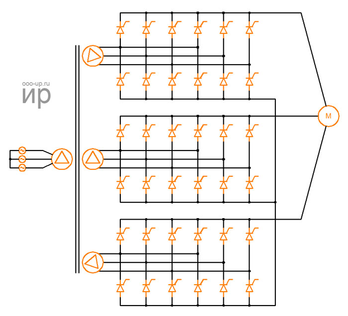 Diagram of the cycloconverter