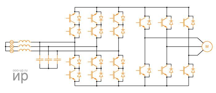 Diagram of the indirect matrix converter