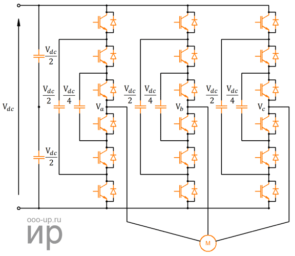 Topology of the flying capacitor converter